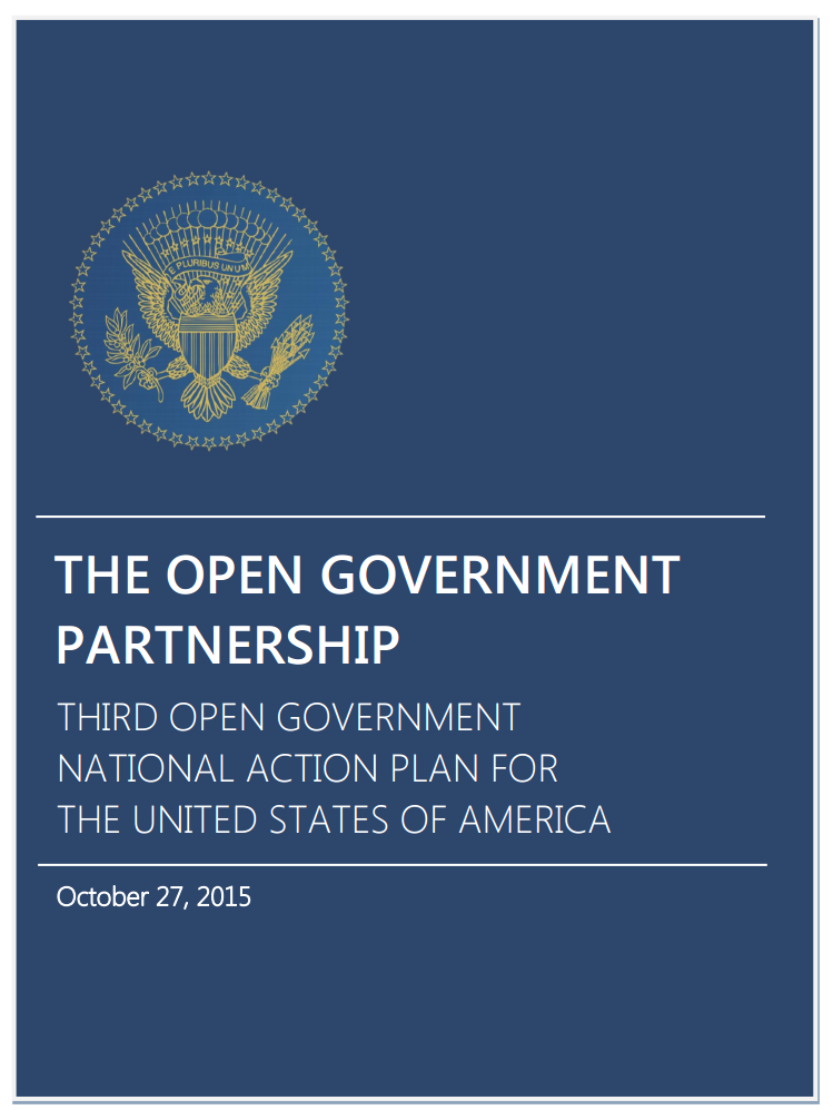 Screen Shot of the Cover of the Third Open Government National Action Plan